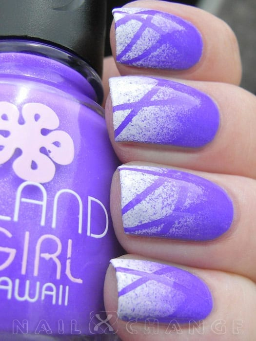 Purple Gradient Striped Nails by NailXChange