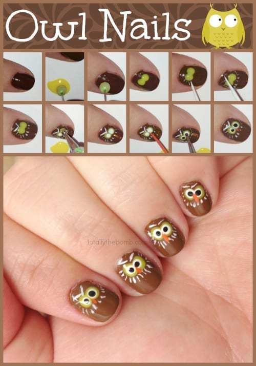 Owl Nails from TotallyTheBomb.com