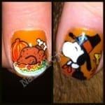 Snoopy Thanksgiving Nail Art by Nail Art Junkie