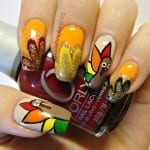 Glitter Turkey Nails by Polishophrenia