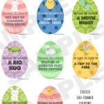 Free Printable Easter Egg Change Coupons from Totally The Bomb