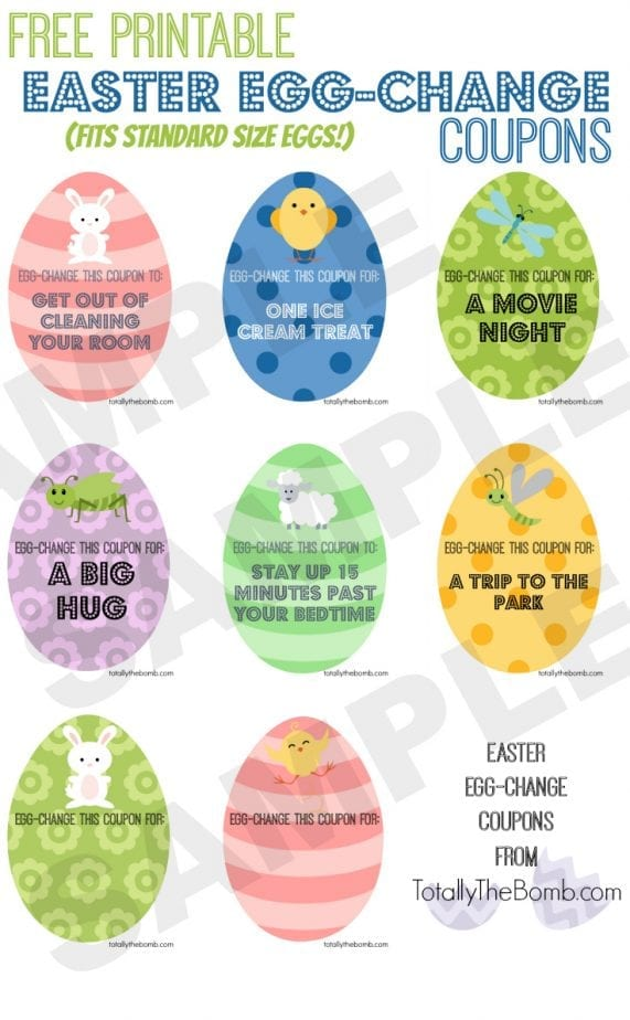 Free Printable Easter Egg Change Coupons from Totally The Bomb Free Printable Easter Egg Change Coupons