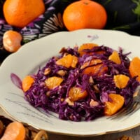 Vegan Red Cabbage, Orange, and Walnut Salad