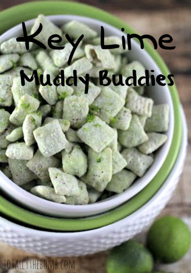 Key Lime Muddy Buddies in a bowl on table