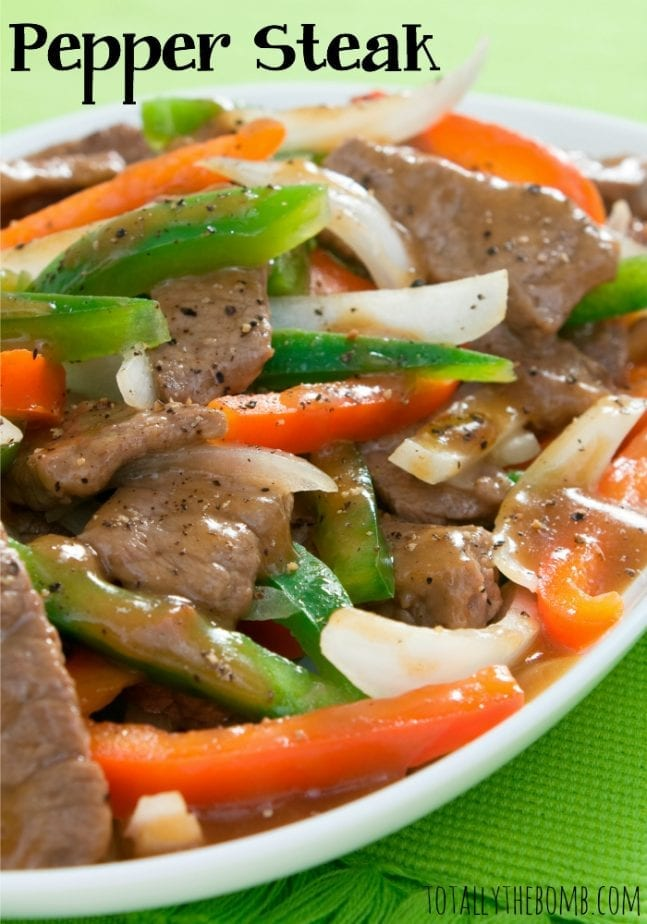 pepper steak close up image in a white bowl