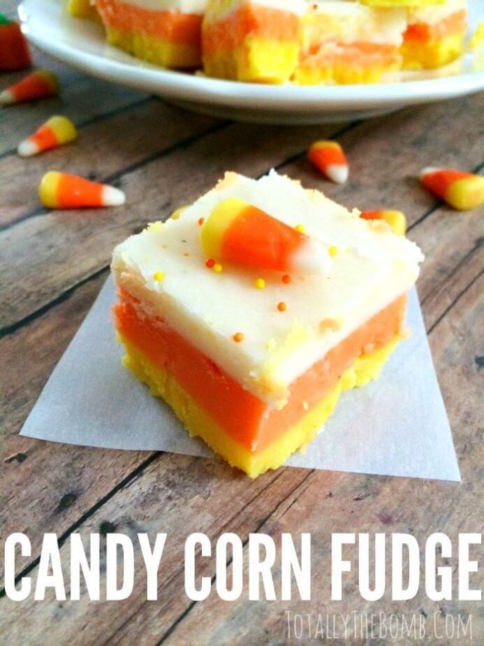 Candy Corn Fudge is totally the best halloween food ever. Perfect for a Halloween party.