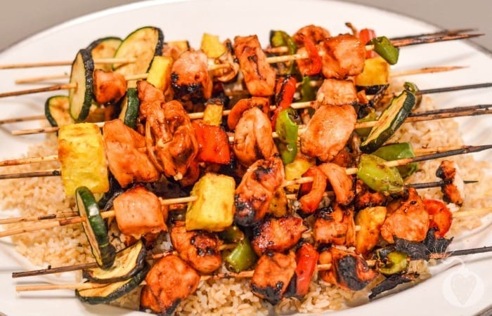 Grilled Barbecue Chicken Skewers Featured