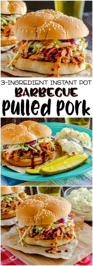 This delicious, tangy, fruity 3-ingredient Instant Pot barbecue pulled pork tastes like old fashioned southern home cooking, but none of that waiting all day. | #TotallyTheBomb #InstantPot #PulledPork #3Ingredient #Recipe #BBQ #FastFood