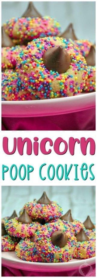 Unicorn Poop Cookies #unicorn #unicornpoop #unicorncookies #thumbprintcookies #unicornparty #unicornfood