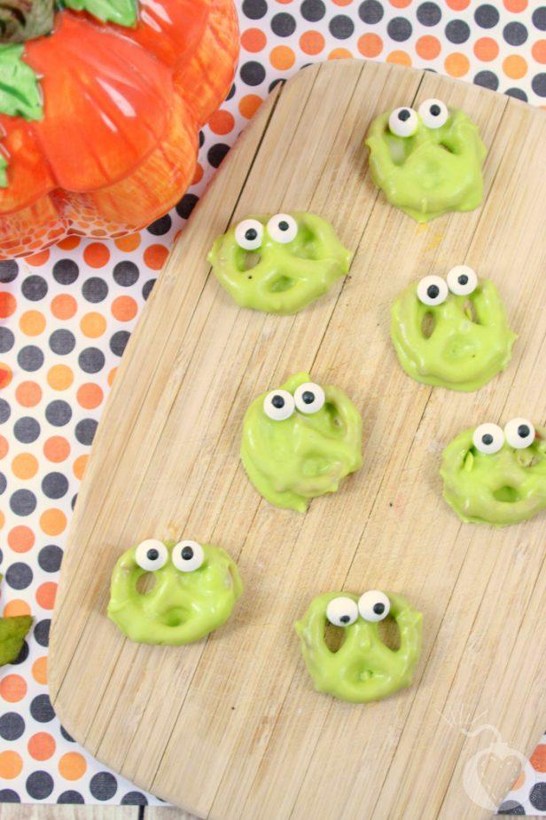 monster pretzels on tray