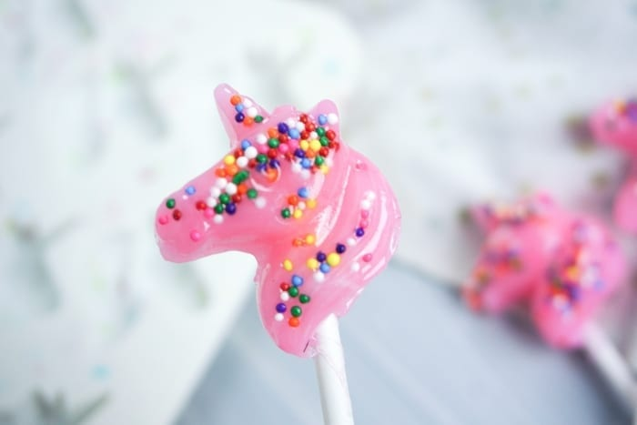 I know, I know, they're really kids' food, but I feel like these Pink Unicorn Lollipops just get me. I love them. #homemadelollipops #Unicorn #unicornlollipops #unicornfood