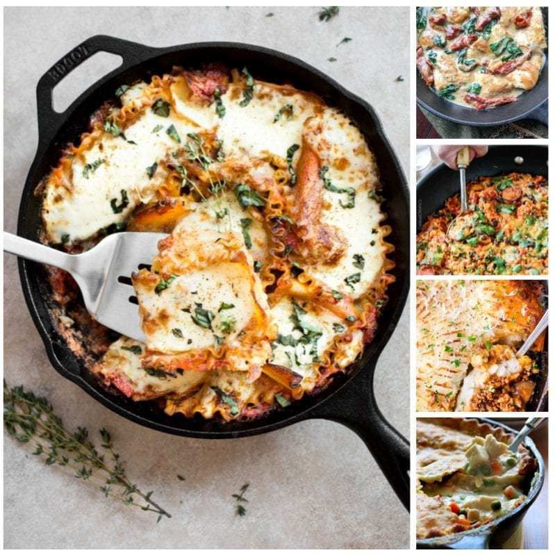 I absolutely adore these 24 Ridiculously Tasty Skillet Meals. Every single one of them is simple, easy-to-clean-up, and best part? So tasty that your family is going to love having a new recipe (almost every night of the month)! #onepanmeals #skilletdinners #skilletmeals #skilletrecipes