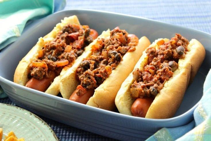 Southwestern Sloppy José Hot Dogs w/Black Beans & Chiles