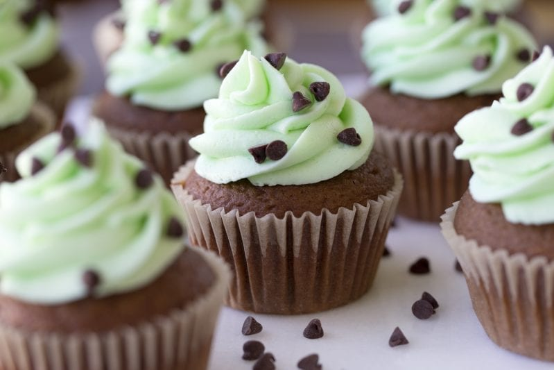 If you're love the combination of mint and chocolate, like me, you're going to LOVE these Wonderfully Minty Mint Chocolate Chip Cupcakes. They're moist, light, and so mint-chocolate-delicious, you'll be making a second batch same-day. #mintchocolatechip #mintchocolate #mintchocolatechipcupcakes